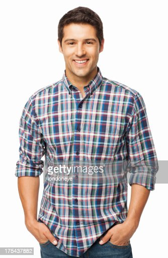 Handsome Man Standing With Hands In Pockets - Isolated : Stock Photo