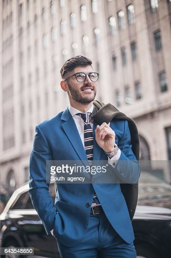Handsome man suit on the street