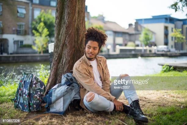 Handsome man with afro haircut