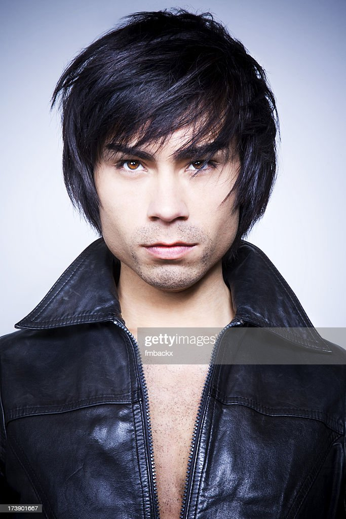 Handsome man with leather jacket : Stock Photo