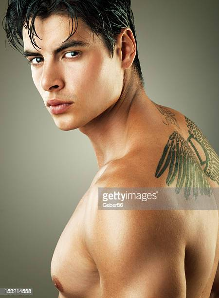 handsome man with tattoo