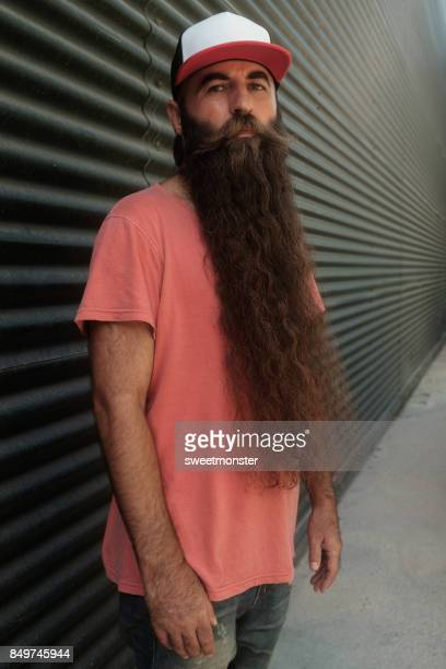 handsome men with long beard