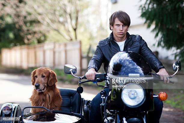 Handsome Motorcyclist with His Dog in the Side Car