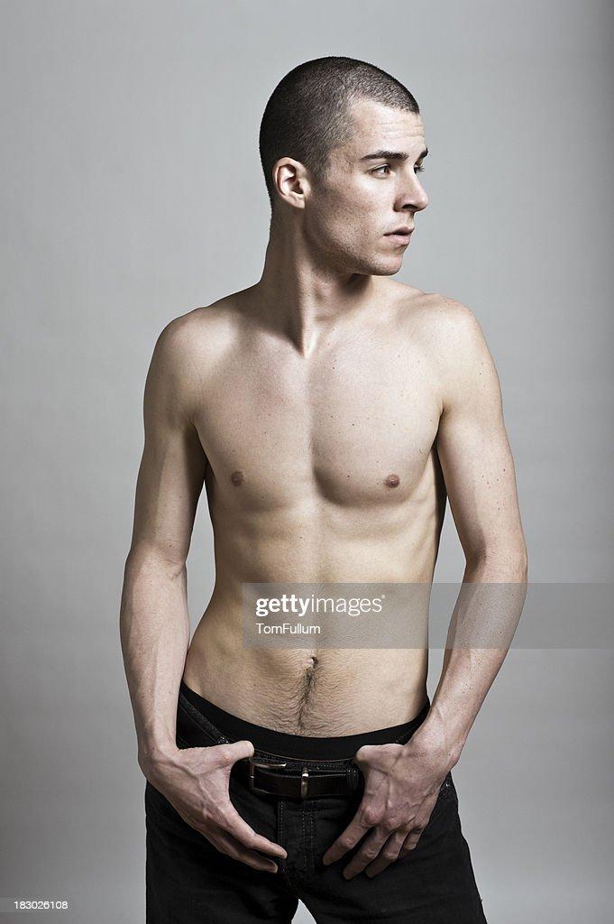 Handsome Shirtless Young Man Posing
