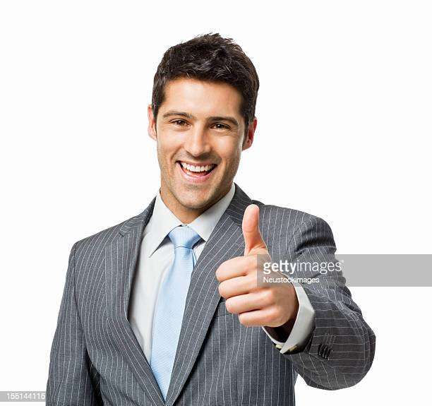 Handsome Young Businessman Giving Thumbs Up Sign - Isolated