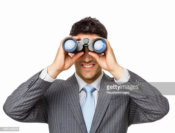 Handsome Young Businessman Looking Through Binoculars - Isolated