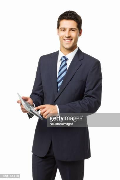 Beau jeune homme d'affaires avec calculatrice-isolé