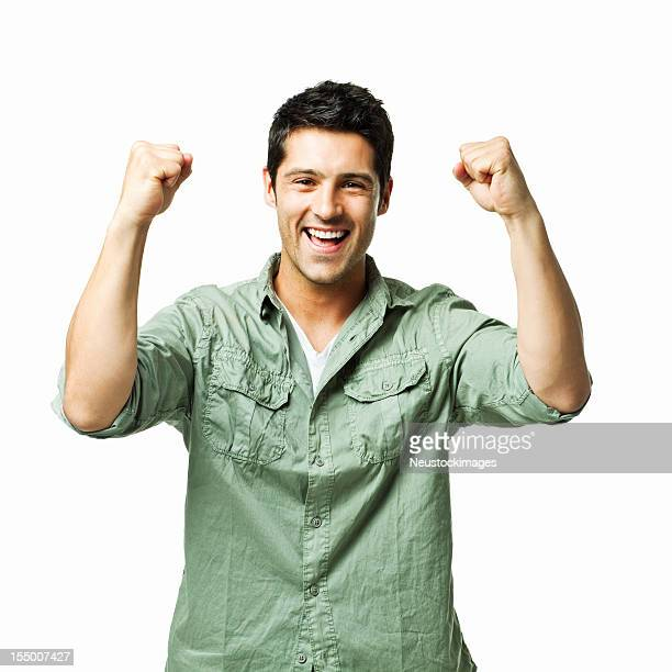 Handsome Young Man Excitedly Cheering - Isolated