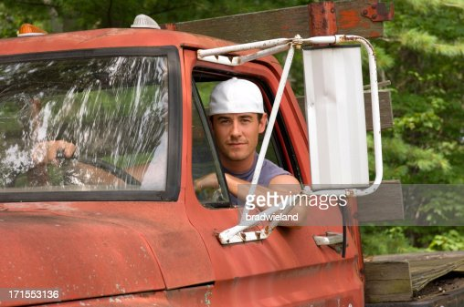 Handsome Young Man in Truck