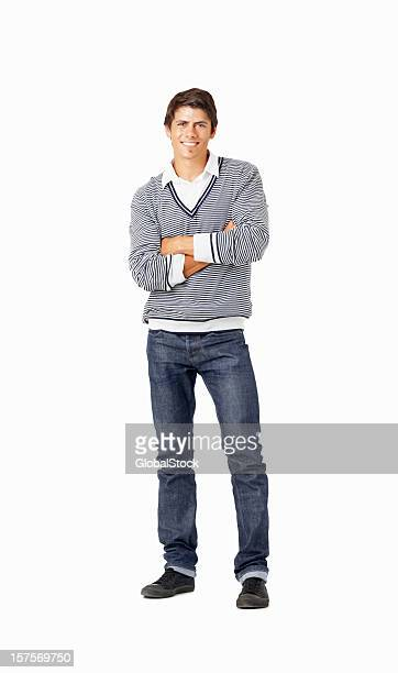 Handsome young man standing isolated on white