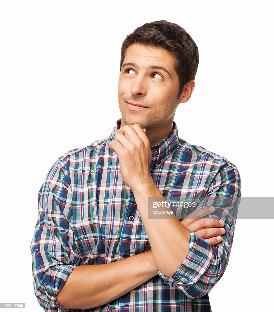 Handsome Young Man Thinking - Isolated : Stockfoto