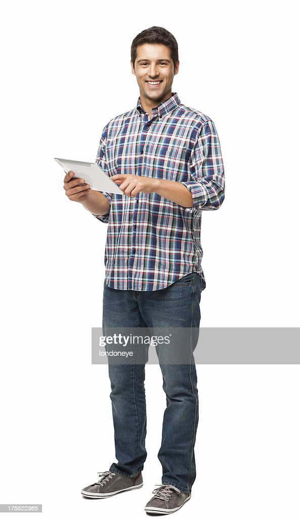 Handsome Young Man Using Digital Tablet - Isolated : Stock Photo