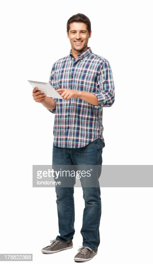 Handsome Young Man Using Digital Tablet - Isolated