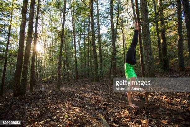 Handstand in the woods of Tennessee