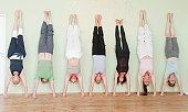 Teaching Yoga in a studio.