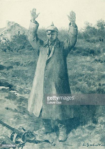 Handsup German method of surrender Soldier stands with his hands in the air and gun at his feet a common form of surrender normally accompanied by...