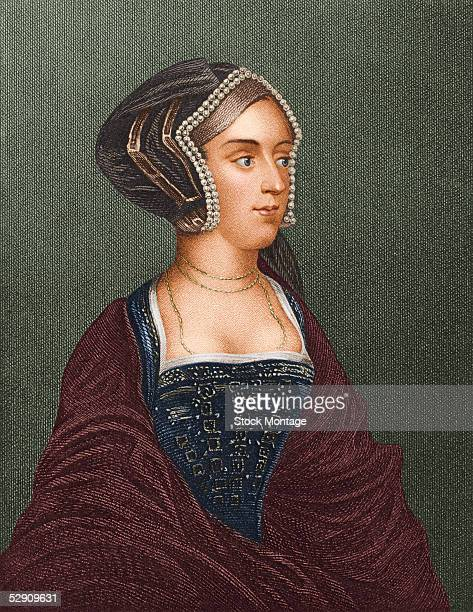 Handtinted engraved portrait of Queen Consort Anne Boleyn early 16th Century Anne was the second wife of King Henry VIII and the mother of Queen...