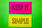 Handwriting Announcement text showing Keep It Simple. Conceptual photo Simplicity Easy Strategy Approach Principle written sticky note paper the green background.