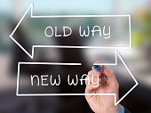 Man Hand drawing Old Way or New Way concept with marker on visual screen. Stock Image