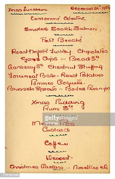 Handwritten 1950s Christmas menu