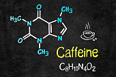 Handwritten chalk chemical formula of Caffeine on school blackboard.