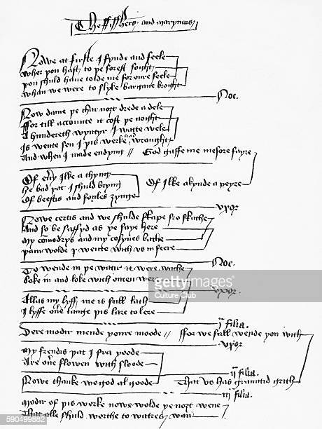 Handwritten excerpt from a York Mystery Play / York Corpus Christi Play Part of a group of 48 plays performed in the city of York on the feast day of...