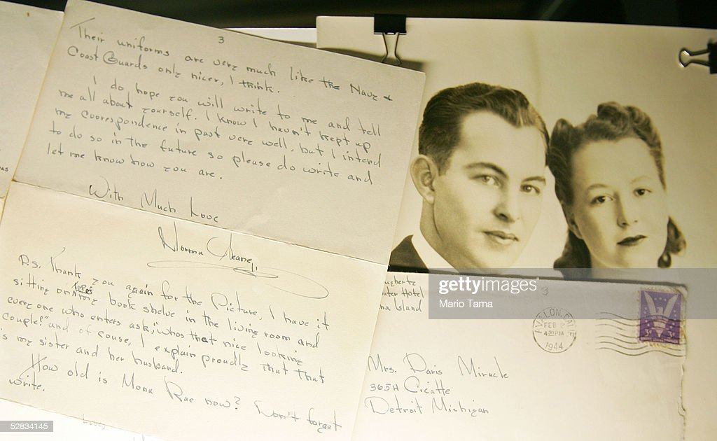 A handwritten letter to half-sister Berneice Miracle from the estate of actress Marilyn Monroe is seen during a press preview in Planet Hollywood May 16, 2005 in New York City. Over 200 personal and professional items will be offered in the June 4th sale.