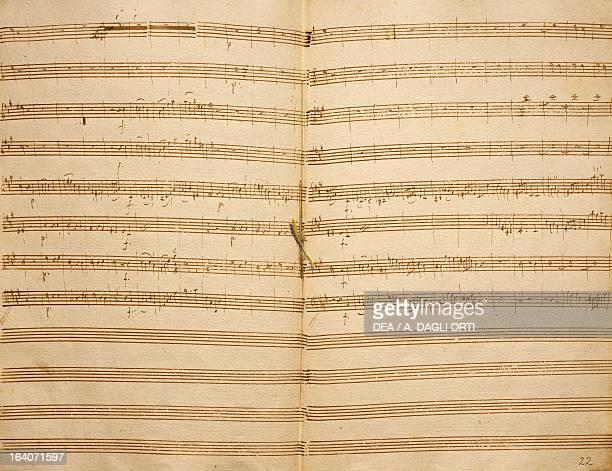Handwritten manuscript score for Symphony in F sharp minor Abschied by Franz Joseph Haydn 1772 Budapest Szechenyi Nemzeti Konyvtar