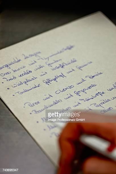 A hand-written menu
