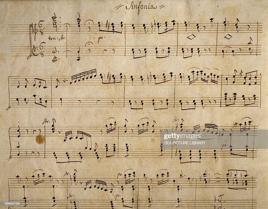 Handwritten music score of Elisa by Simon Mayr Incipit della sinfonia Beginning of the symphony Vicenza Biblioteca Civica Bertoliana