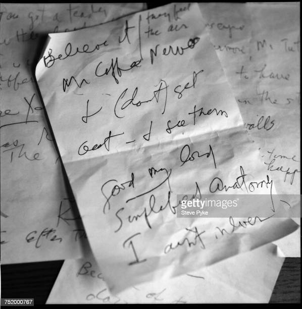 Handwritten notes by American Pulitzer Prizewinning poet John Ashbery 2005