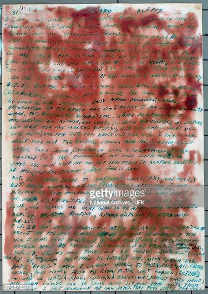 Handwritten page from Lee Harvey Oswald's 'Historic Diary' Reddish brown color is from a chemical applied by the FBI in search for fingerprints...