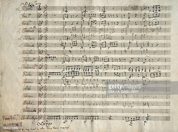 Handwritten score with notes on tuning for the oratorio of Die Sieben Worte letzten unseres Erlosers am Kreuze by Franz Joseph Haydn Budapest...