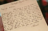 A handwritten telegram from Abraham Lincoln to General McClellan during the American Civil War is seen at Sotheby's auction house April 8 2010 in New...