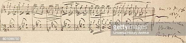 Handwritten work of Robert Schumann a German composer and influential music critic Dated 19th Century