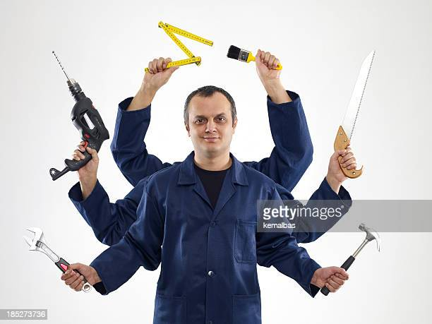A handyman with six arms holding different tools