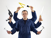 Handyman With Six Arms (Digital Composite)