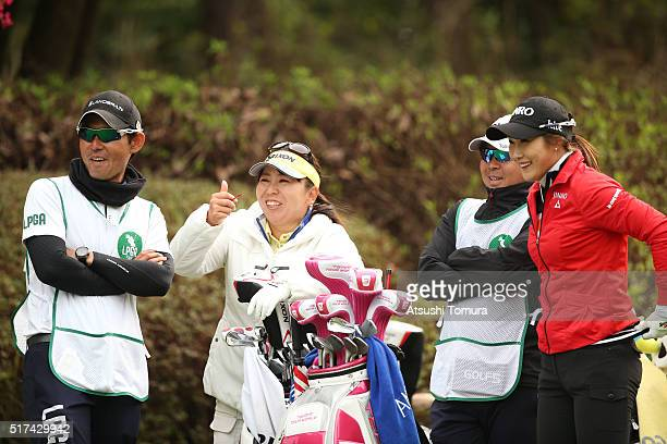 HaNeul Kim of South Korea and Yumiko Yoshida of Japan smile during the first round of the AXA Ladies Golf Tournament at the UMK Country Club on March...