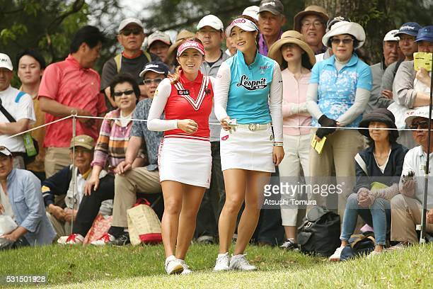 HaNeul Kim of South Korea BoMee Lee of South Korea smile during the final round of the HokennoMadoguchi Ladies at the Fukuoka Country Club Ishino...