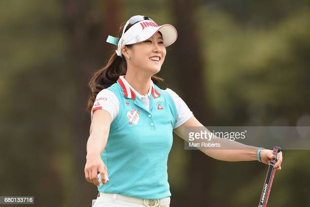 HaNeul Kim of South Korea celebrates victory on the 18th green during the final round of the World Ladies Championship Salonpas Cup at the Ibaraki...