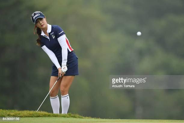 HaNeul Kim of South Korea chips onto the 9th green during the first round of the 50th LPGA Championship Konica Minolta Cup 2017 at the Appi Kogen...
