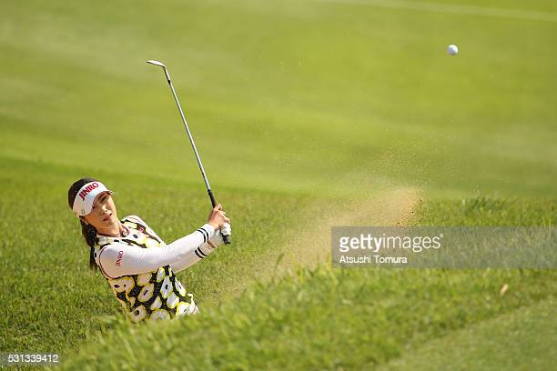 HaNeul Kim of South Korea hits from a bunker on the 18th hole during the second round of the HokennoMadoguchi Ladies at the Fukuoka Country Club...