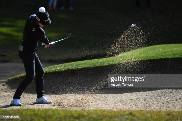 HaNeul Kim of South Korea hits from a bunker on the 3rd hole during the second round of the Daio Paper Elleair Ladies Open 2017 at the Elleair Golf...
