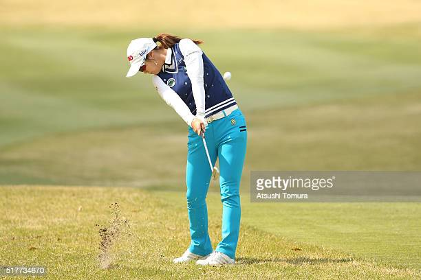 HaNeul Kim of South Korea hits her second shot on the 5th hole hole during the final round of the AXA Ladies Golf Tournament at the UMK Country Club...