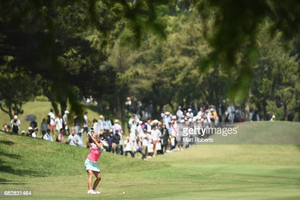 HaNeul Kim of South Korea hits her second shot on the 8th hole during the final round of the HokennoMadoguchi Ladies at the Fukuoka Country Club...