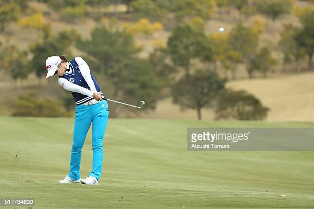 HaNeul Kim of South Korea hits her second shot on the 9th hole hole during the final round of the AXA Ladies Golf Tournament at the UMK Country Club...