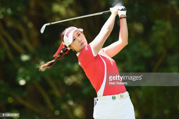 HaNeul Kim of South Korea hits her tee shot on the 12th hole during the second round of the Nipponham Ladies Classics at the Ambix Hakodate Club on...