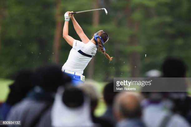 HaNeul Kim of South Korea hits her tee shot on the 12th hole during the final round of the NEC Karuizawa 72 Golf Tournament 2017 at the Karuizawa 72...