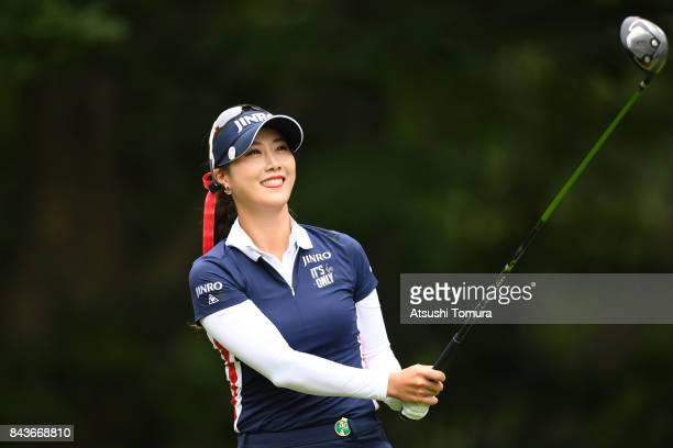 HaNeul Kim of South Korea hits her tee shot on the 12th hole during the first round of the 50th LPGA Championship Konica Minolta Cup 2017 at the Appi...
