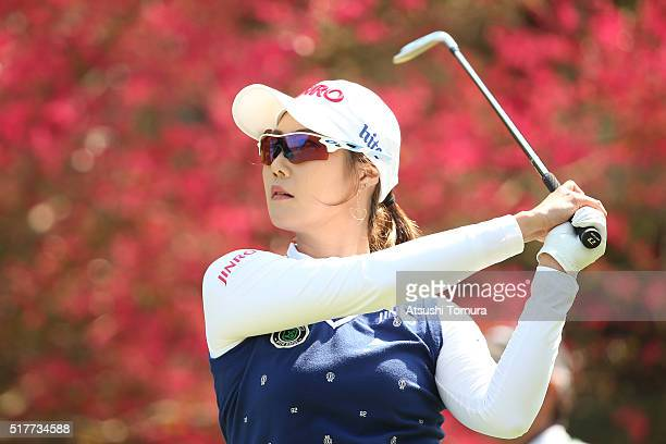 HaNeul Kim of South Korea hits her tee shot on the 16th hole during the final round of the AXA Ladies Golf Tournament at the UMK Country Club on...